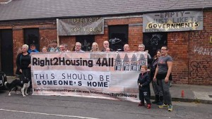 Right2housing protest in September  with Cllrs Brid Smith and Tina MacVeigh highlighting scandal of empty houses while families are homeless