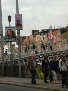 Brid's poster by the hal'penny bridge